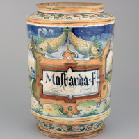 10 albarello for mustard, attributed to Domenigo da Venezia, Venice, 1560-1570, 38 cm tall, 20,5 cm wide (rim), British Museum, London