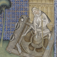 image 5 Saint Augustin, detail in De Civitate Dei, Raoul de Presles (Livre I-X), 14th century, BNF, Département des Manuscrits, Francais 22912, folio 227v.
