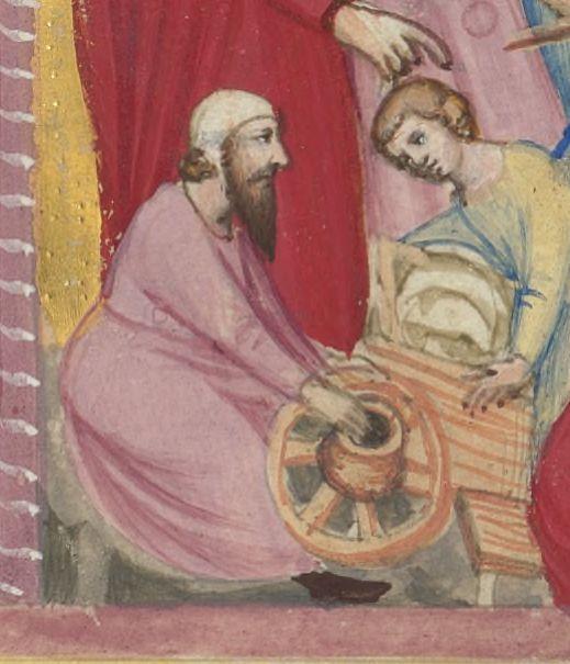 image 4 detail of the enslavement of the Israelites, the Bible moralisée of Naples, 1340-1350, BnF Ms Français 9561 fol.53r