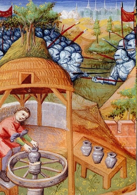 image 6 the potter Carcino, father of Agatocles, detail in Des cas des nobles hommes by Boccace, 1400-1425, BNF, M. fr. 235, Folio 158 verso