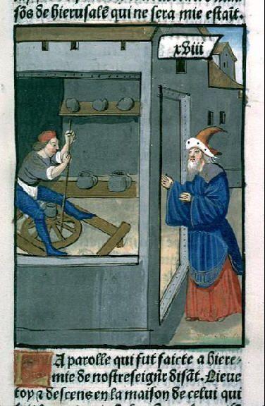 image 8 Jeremia visits the house of the potters, Petrus Comestor, c. 1495, Biblioteca Municipal de Lyon Rés Inc 58, f. 92