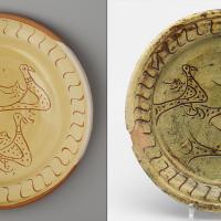 Left: reconstruction of a dish. Right: original Dutch dish 1475-1525 collection Boijmans van Beuningen