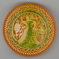 replica of a Dutch dish with a lady / 1610-1612 / collection E. van Drecht / Published in Hoorn des Overvloeds