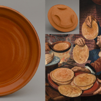 Left: reconstruction of a 16th century dish / diameter 25 cm / €35. Right: A detail  from a painting by Pieter Aertsen / 1560 / collection Boijmans van Beuningen