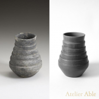 1 On the left: the original beaker from 600-700 found at grave field at Rijnsburg, collection Rijksmuseum voor Oudheden in the Netherlands. On the right: the reconstruction