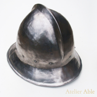 replica of a steel kettlehat, late 15th century