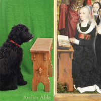 Replica stool after Moreel-triptiek by Memling 1484 Groeningemuseum