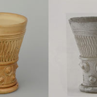 Left: reconstruction of a beaker. Right: original from the 16th century