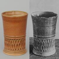 Left: reconstruction of a beaker. Right: original from Töpfereimuseum Raeren 1560-70.