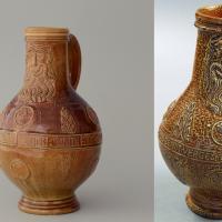 Left: reconstruction of a Bartmann jug. Right: original. Frechen second half of the 16th century. from collection Kunstgewerbemuseum Schloss Pillnitz