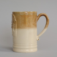 reconstruction of a tavern mug from the Chipstone foundation collection, made in Fulham  and inscribed Jacob Morden 1750