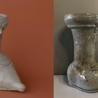 Left: a reconstruction of a stoneware shoe / €40. Right: original stoneware shoe produced in Raeren in the late 15th or early 16th century / collection d'Huys